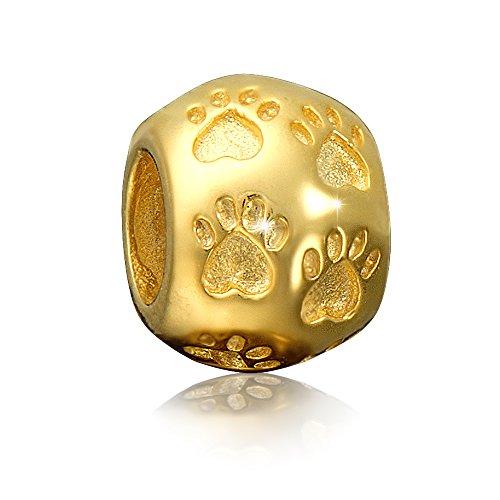 Andante-Stones - Premium Collection - Gold Bead Charm Pfoten 925 Sterling Silber Pfote Tierpfote Element Kugel für European Beads Modul Armband + Organzasäckchen (Charm Gold Beads)