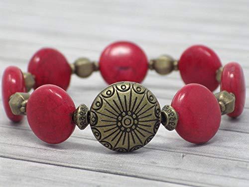 6ea06a3314e7 Pulsera zen para mujer en bronce antiguo y cuentas planas turquesa  reconstituida roja