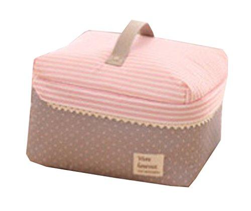 Cadeau Heureuse Trousse de Maquillage Multifonction Housse de Rangement Boîte de Voyage Taille 25*20*15CM (Rose Kaki Pois)