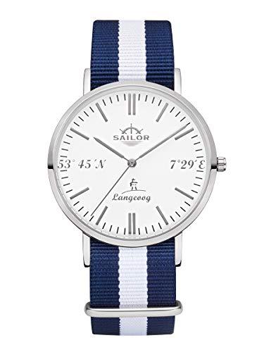 Sailor Damen Herren Uhr Edition Langeoog Analog Quarz mit Nylon Armband Silber, SL101-1086-40