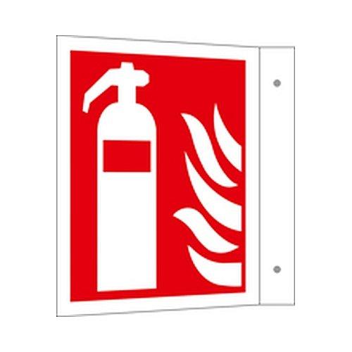Schild Feuerlöscher Brandschutzeichen auf Schilderträger Fahnenform Größe (BxHxT): 2,5 x 20,0 x 20,5cm Alu