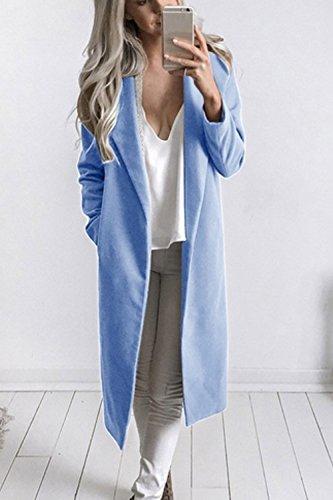 La Femme Automne - Hiver Élégant Front Ouvert Classique Extérieur De La Tenue Solide Maxi Manteau Épais blue