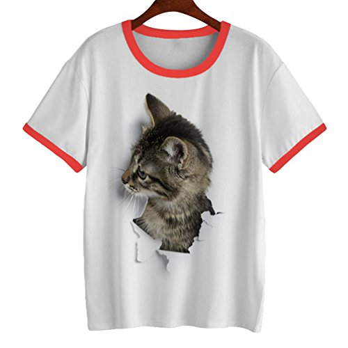Yuanu Damen Weich Bequem Kurzarm Rundhals Pullover T-Shirt Cute 3D Katze Muster Drucken Slim Tops Druckstil 9 2XL