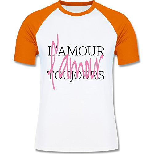 Statement Shirts - L'amour toujours - zweifarbiges Baseballshirt für Männer Weiß/Orange