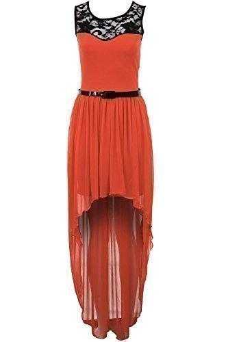 Saphir Femmes Lacets Ivoire Rouge Noir Haut Bas Maxi Mousseline Queue Robe Pour Femmes Corail