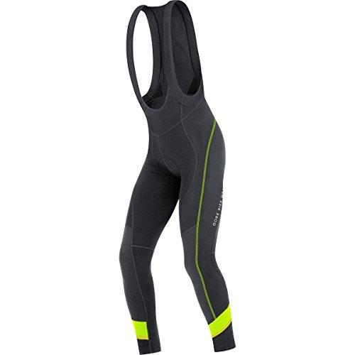 Gore Bike Wear Power 3.0 Thermo+ - Culote con tirantes para hombre, color negro / amarillo, talla L