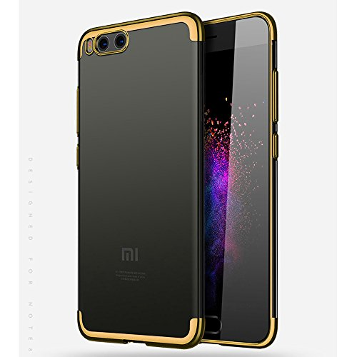 BLUGUL Funda Xiaomi Mi Note 3, Electroplating Coloring, Ultra Fina, Transparente Suave TPU Silicona Cover Claro Case para Xiaomi Note 3 Oro