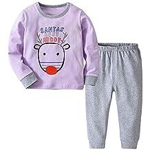 51da633c64b9a ... Hirsch Baby Kleinkind Mädchen Jungen Tops Solide Hosen 2er Set Outfit  Kleidung Cartoon Hirsch O-Ausschnitt Mode-Set Baumwolle Umlegekragen Lila  Blau