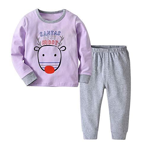Yahoo Ropa para niños Traje de Dos Piezas de la Blusa + Pantalones de los Ciervos de la Historieta de los niños y de la Navidad de los niños y de los niños Conjuntos de Ropa para bebés niño
