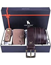 HIDE & SKIN Leather Men's Card Holder, Belt and Keychain Combo Box (Milled Brown)