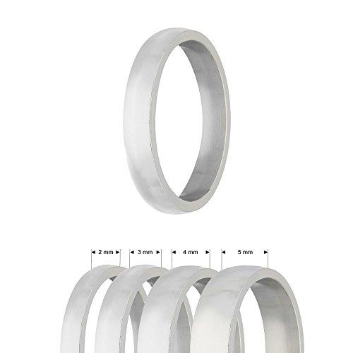 Ring - Edelstahl - 4 Breiten - Matt - Silber [10.] - Breite: 2mm - Ringgröße: 58