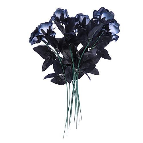VORCOOL 10 stücke Künstliche Blumen Schwarze Rosen Bouquets Lebensechte Rose für Hochzeitsgesellschaft Home Décor
