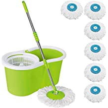 DAIVE's MopFloor Cleaner with Bucket Set Offer with Big Wheels for Best 360 Degree Easy Magic Cleaning, Green with 6 Microfiber
