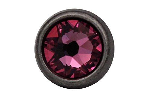 kleine Metallknöpfe silber antik, Metall Knöpfe mit echtem Swarovski Kristall Strass in rosa pink 10mm (6 Stück) (Kleine Kristall-knöpfe)