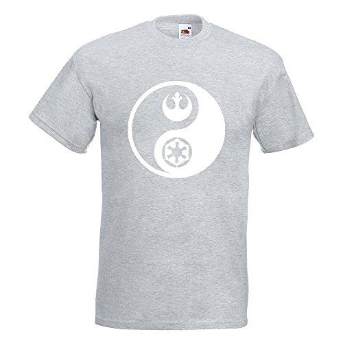 KIWISTAR - Jedi Sith - Yin und Yang T-Shirt in 15 verschiedenen Farben - Herren Funshirt bedruckt Design Sprüche Spruch Motive Oberteil Baumwolle Print Größe S M L XL XXL Graumeliert
