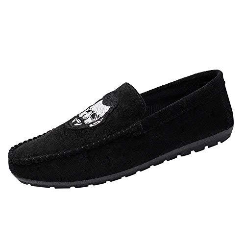 ZHRUI Stil bärtige Herren Casual Bequeme Driving Bean Schuhe (Farbe : Schwarz, Größe : EU 40)
