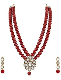 Meenaz Jewellery Gold Kundan Pearl Ruby Maang Tikka Necklace Jewellery Sets with Earrings for Women & Girls- NL-305