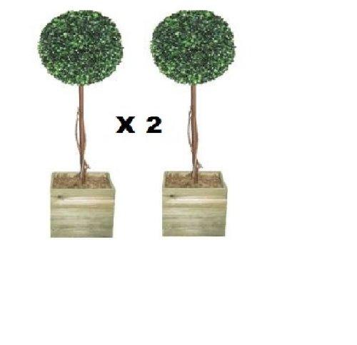 Künstlicher Buchsbaum, Kugelschnitt, 90cm, 2 Stück