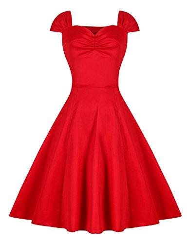 Modetrend Femmes Rétro Vintage Bandeau Robe Années 50 's Style Audrey Hepburn Rockabilly Swing Robe de Bal à Sans Manches Rouge