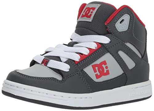 DC Boys' Pure High-Top Skate Shoe, Grey/Grey/Red, 11.5M M US Little Kid (Dc-schuhe Für Kids High-tops)