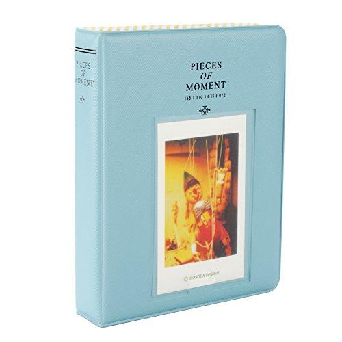 Fetoo 64 Taschen Mini Album Schutzhülle Foto Album Fotohüllen für Mini Fujifilm Instax Miini Film 7S/8/25/50/90, 14*11cm (Blau) (Schwarz 11x14 Bilderrahmen)