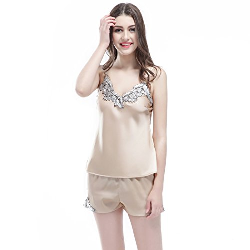 Sunshine Chow Femmes Kimono peignoir Pyjama V¨ºtement Robe de Sexy Soie Chemises de nuit Peignoir ¨¤ Manches Courtes ¨¦t¨¦ Printemps Satin--2 Pcs Champagne