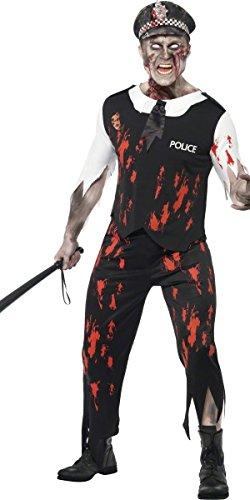 st Kostüm Halloween Verkleidung Toter Polizist - Schwarz, L - Brust 107-112cm (Polizist Zombie Kostüm)