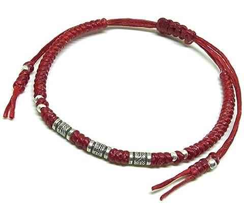 BUSABAN Asian Handmade Bracelet 925 Silver Feather Beads Red Wax String