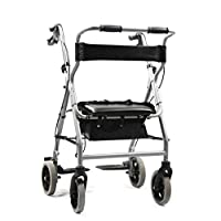 Folding Rollator Walking Frame,Ultra Lightweight Folding Rollator Walking Frame, Cane Holder and Locking Brakes,with Seat and Bag,Convenient storage