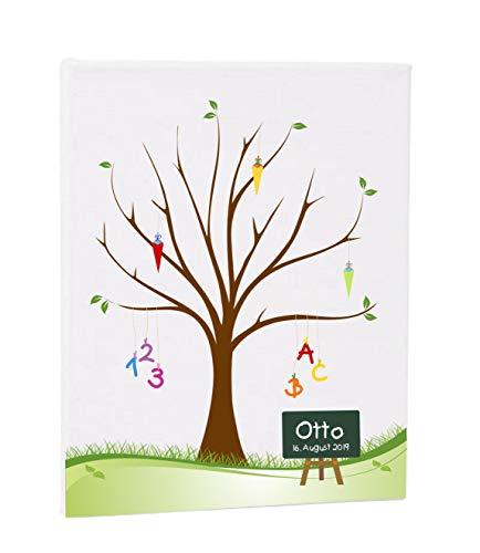 Herzl-Manufaktur Gästebuch Schulanfang Leinwand personalisiert Zuckertütenbaum 30x40cm Erinnerung Schuleinführung Spiel zur Familienfeier weddingtree
