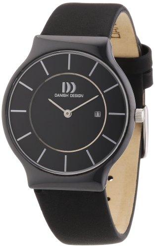 Danish Design - Reloj analógico unisex de cuero negro