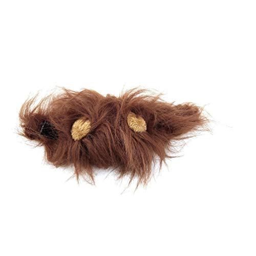 Lion Mane Wig for Cat Halloween Christmas Party Dress Up with Ear Brown ()