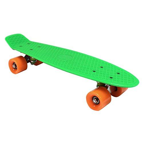 Charles Bentley 55,9cm Kinder 70Vintage Retro Cruiser Mini-Kunststoff-Skateboards, grün mit orangenen Rädern (11Farben erhältlich)