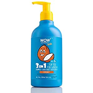 WOW Skin Science Kids Tip To Toe Wash - Shampoo - Conditioner - Body Wash - No Sulphates & Parabens - Coconut, 300 ml