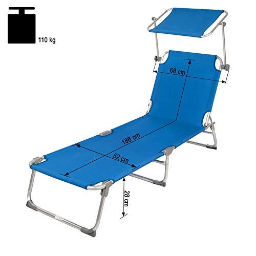TecTake Gartenliege Sonnenliege (Blau) - 6