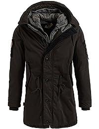 5209baec2d2a khujo Herren Parka John with Innerjacket Uncar Dark Oliv schwarz dunkelgrau  Winterjacke Jacke Coat