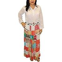 Mogul Interior Women's Maxi Skirt Patchwork Colorful Rayon Long Skirt S