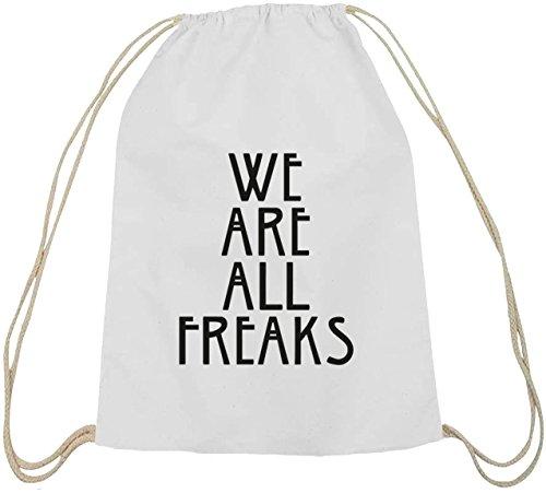 Shirtstreet24, AHS - We Are All Freaks, Baumwoll natur Turnbeutel Rucksack Sport Beutel weiß natur