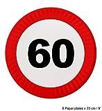 8 Pappteller Geburtstag mit roten Schild Geburtstag Dekoration Zahl: 60