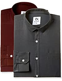 EX by Excalibur Men's Checkered Regular Fit Formal Shirt (Pack of 2)