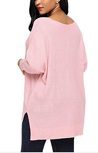 Monissy Femme Pull Tricot Col V Asymétrique Veste Grande Taille Casual Top à Manches Longues Automne Mode Rose
