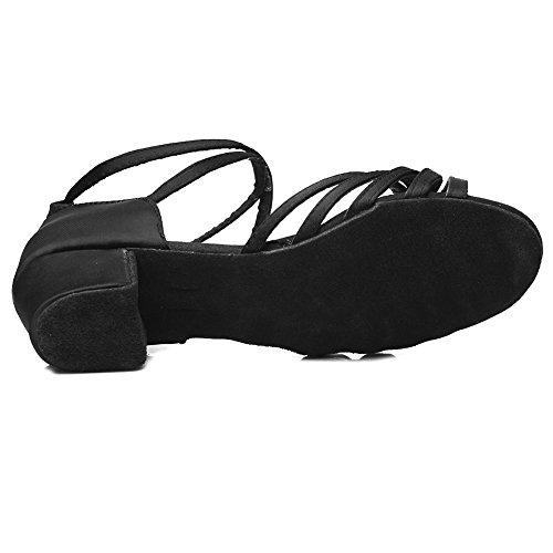HROYL Mädchen Tanzschuhe/Latin Dance Schuhe Satin Ballsaal Modell-DS-202 Schwarz