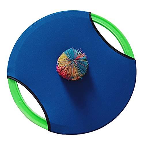 LIOOBO Trampolin Paddel und Ballspiel Flying Disk Bounce Spiel Kindergarten Eltern Kinder Spielzeug (Blau)