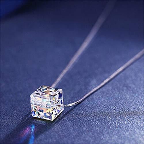LIXIAQ1 Elegante Halskette Kristall Liebes Würfel Aurora Sugar Cube Anhänger Kette Halskette - Crystal Cube-anhänger