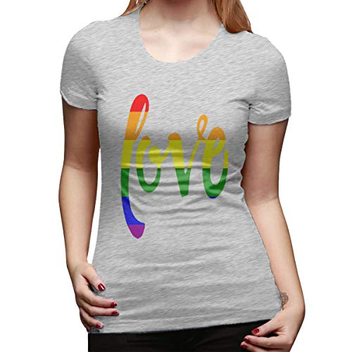 7a09af9b0 pants hats Gay Pride Rainbow Love 3 Women's Summer Short Sleeve Tops Round  Neck Casual Loose
