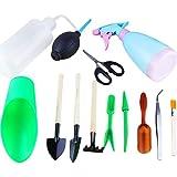outflower 13pcs Set d'outils de jardinage Mini Outils de jardinage 450ml Arrosoir Pinces de jardinage Râteau de fer outils de greffe Pelle Cuillère