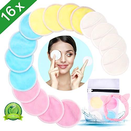 Makeup Entferner Pads, Aiemok 16 Stück Wiederverwendbare Abschminkpads, Makeup Cleansingpads mit Wäschebeutel und Haarband, Superweich Waschbare Wiederverwendbare perfekt für Gesichtsreinigung - Mikrofaser Haustier-matte