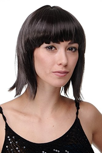 WIG ME UP ® - PW0114-P2 Sexy Party Perücke Bob Disco Kurz & Frech Go-Go Party Burlesque Dunkelbraun