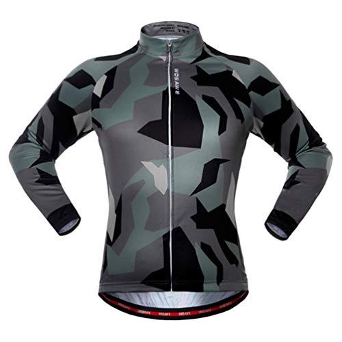 Oyamihin Frühling Herbst Reiten Langarm Radfahren Fahrrad Mountainbike Colthing für Outdoor-Sportarten Übungen Polyester Army Green - Armee-Grün