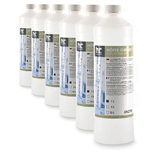 6 x 1 L Essigsäure 60% - VERSANDKOSTENFREI - frisch abgefüllt in handlichen 1L Flaschen zum sofortigen Gebrauch
